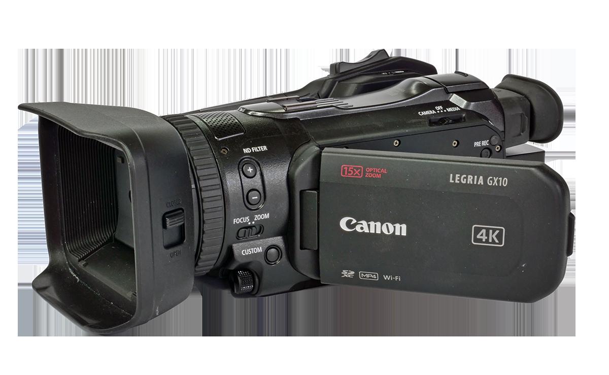 Videokamera Canon GX10 v přední perspektivě