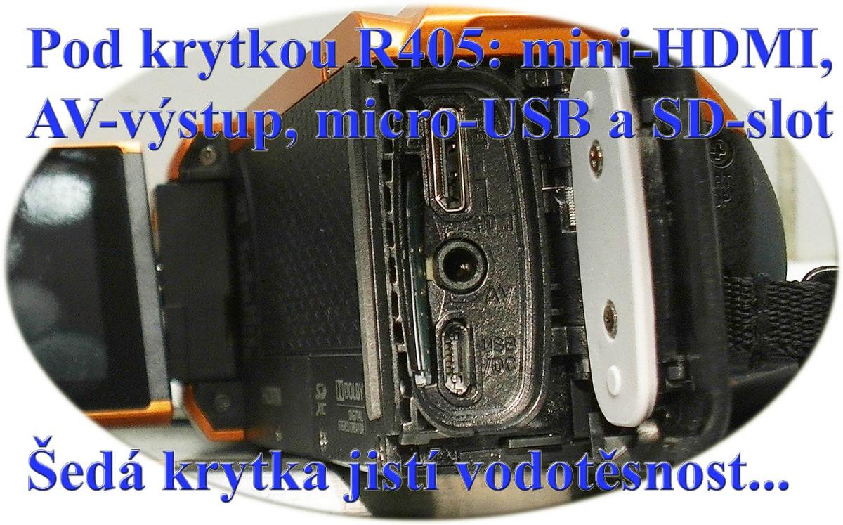 Detail zdířek pod vodotěsnou krytkou videokamer JVC