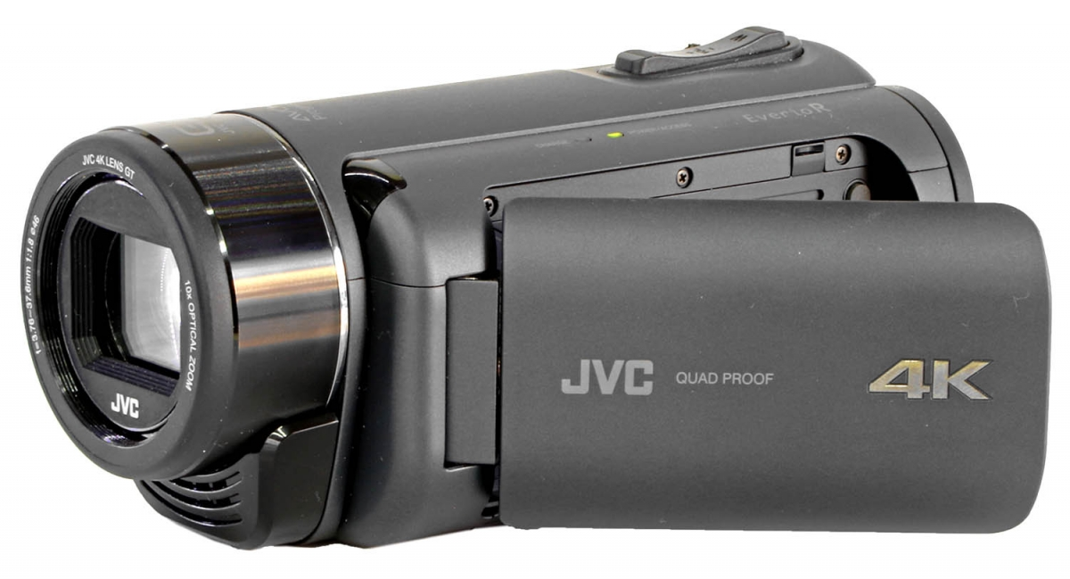 Videokamera JVC GZ-RY980 v přední perspektivě