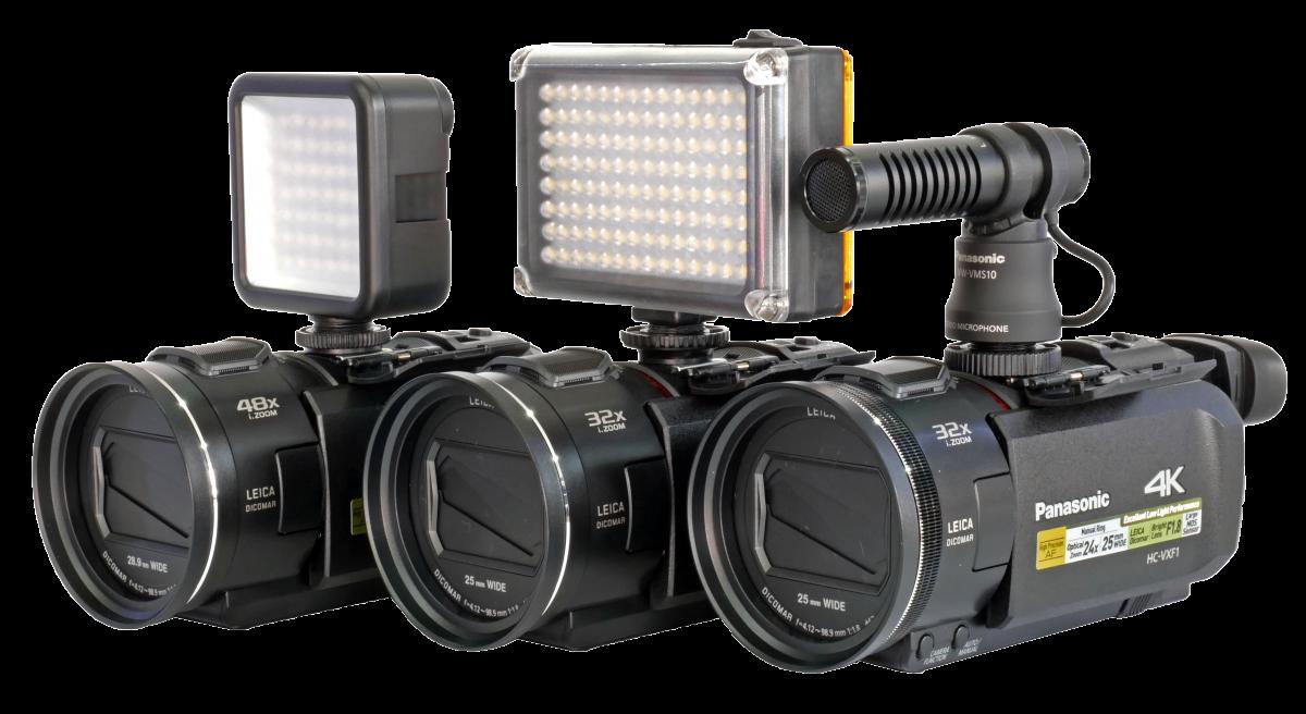 Videokamery Panasonic 2018 - zleva V800, VX1 a VXF1