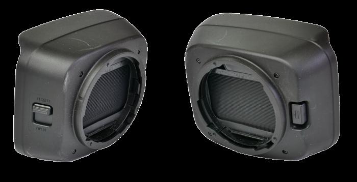 Canon GX10 - sluneční clona: pojistka a zavírání