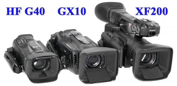 Videokamery Canon vedle sebe - srovnání velikostí